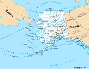 Map of Alaska and Bering Sea