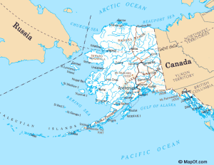 Map of Alaska and Bering Sea