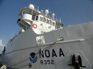 Close up of the bridge of NOAA Ship Nancy Foster