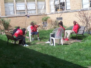 Here we have some of our students relaxing in the Outdoor Classroom.