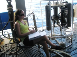 Shelly is recording length frequency measurement data