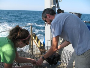 Nate and Shelly are mounting underwater video cameras