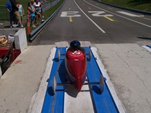 Our Soap Box Derby car about to descend Derby Hill