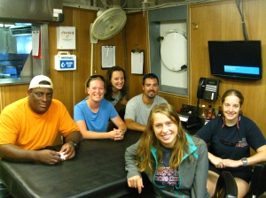 scientists in the galley