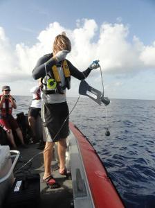 Ben Binder deploys the Seaviewer drop camera over Riley's Hump location.