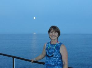 Mrs. Kaiser on the bridge deck at the last full moon.