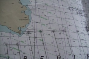 This chart is showing the northernmost point of three of our sampling transects- including the one closest to Russia!