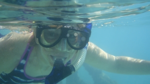 Mrs. Kaiser snorkeling Ft. Jefferson. Photo by Alejandro Acosta, PhD.