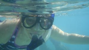 Mrs. Kaiser snorkeling Ft. Jefferson. Photo by Alejandro Acosta, PhD.