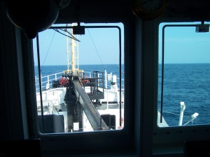View from the Bridge looking over the bow.