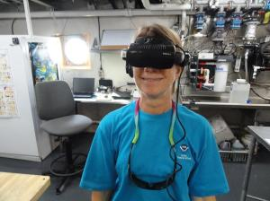Mrs. Kaiser wearing the virtual reality glasses. Photo by Jeff Renchen