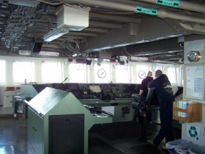 Deck officers on the bridge