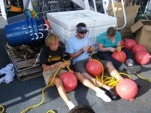 Here we are splicing lines to hold buoys. There have also been several knot-tying sessions.