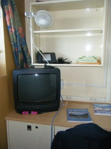 The desk in my stateroom.