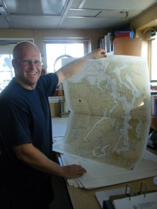 Eric showing one of the ship's many charts.