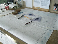 Chart table used for plotting the course. GPS is also used, but charts are kept in case the power fails.