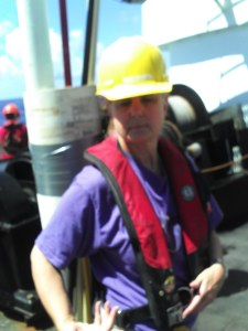 Teacher at Sea Peggy Deichstetter in her hard hat
