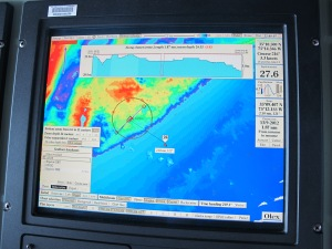 bathymetric data being collected by multibeam sonar technology on the Bigelow