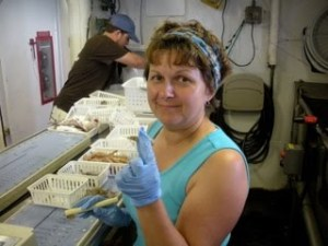 Here I am getting ready to enter data about one of the MANY shrimp that I have seen over the past few days.