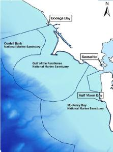 The three central California National Marine Sanctuaries and the ports where the R/V Fulmar docks