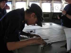 Ensign Schill preparing the navigation of the Pisces