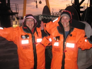 Teacher at Sea in their Gumby suits