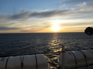 Sunset from the port side