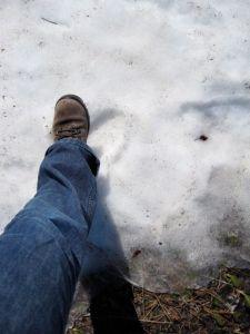 touching snow