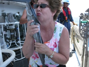 Melinda Storey with shark sucker