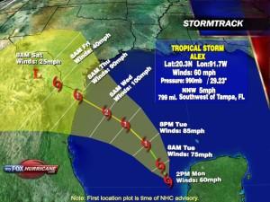 Track of Tropical Storm Alex