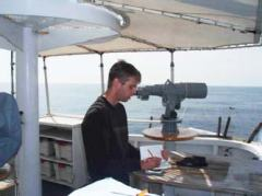 Justin Czarka taking observational notes while aboard the McArthur II.  These notes preserve the knowledge gained from the NOAA officers and crew, as well as the researchers