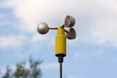 An anemometer, which measures wind speed