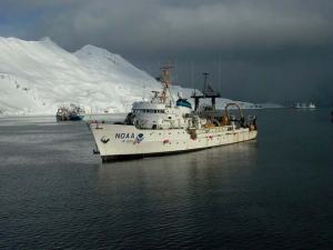 This picture shows the Miller Freeman in Alaskan waters.  On our cruise, it's working off the coast of California.