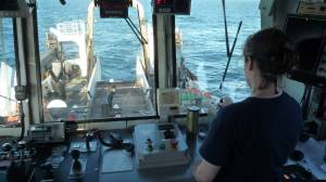 A view from the trawl house during a fishing trawl.