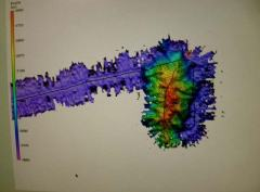 This multibeam image of the new seamount is what I saw in the Science Lab.