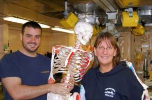 HS2 Wendelschaefer shows me Mr. Bones in Sick Bay
