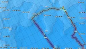 This is a screen shot of our path as we hit our northern most point. The red line indicates the 840 parallel.