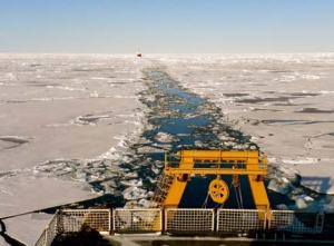 The path of the Healy through the ice with the Louis S. St. Laurent from Canada following (See it way in the distance?)