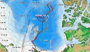The red line shows where the Healy has been. The yellow waypoints show where we might be after September 1, 2009.