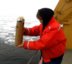 I am tossing the sonobuoy off the fantail of the Healy.