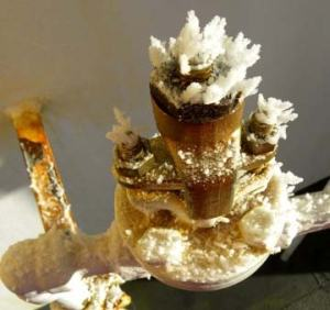 Ice crystals on a valve