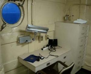 We each have our own desk and filing cabinet and most important a porthole window! Notice the color outside – we are getting a few hours of twilight in the early morning hours.