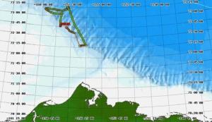 The green dots indicate the path of the Navy Seaglider as it collected data in the Chukchi Sea.