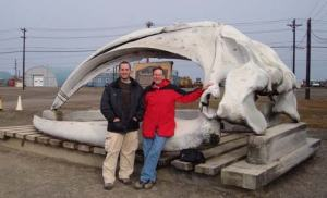 Jon Pazol and I next to the bowhead whale skull in Barrow. When we return to shore the bowhead hunting season will have started.