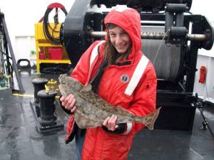 This is a small halibut caught by one of the crew. It was quite small, but they can grow to be over 400 pounds.
