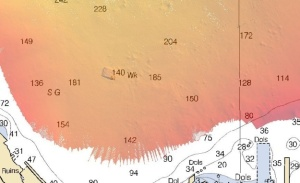 """Here is what the feature (shipwreck) looks like on a chart whose data has been """"cleaned"""" and finalized.  """"Wk"""" is the abbreviation used for wreck on a nautical chart."""