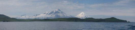 Panorama of Pavlof Volcano and Pavlof Sister