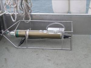 The CTD, which measures conductivity, temperature, and depth.