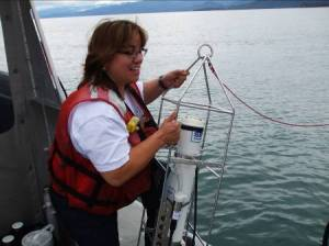 I am deploying and retrieving the CTD. (Picture taken by Asst. Survey Tech. Nick Mitchell)