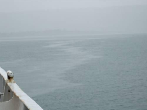 Less dense fresh water suspended over the denser salty ocean water.